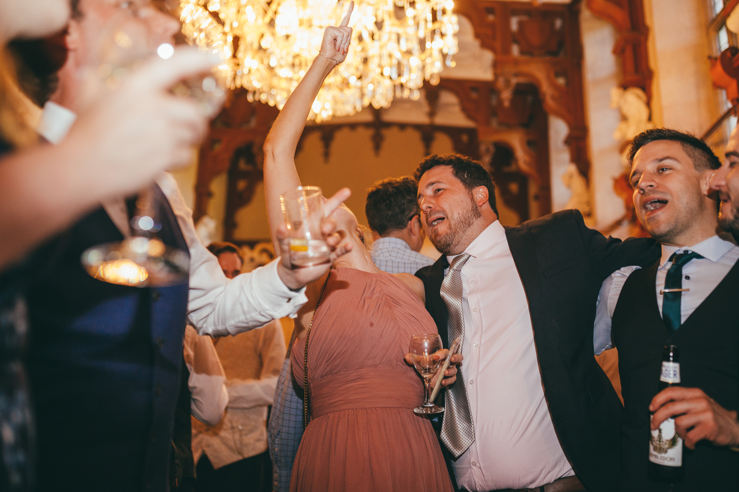 Wedding guests enjoying themselves on the dance floor at Harlaxton Manor