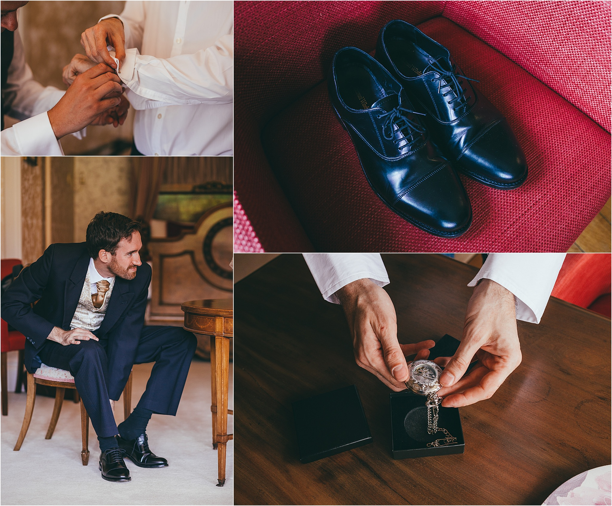 groom getting ready for his wedding at Harlaxton manor