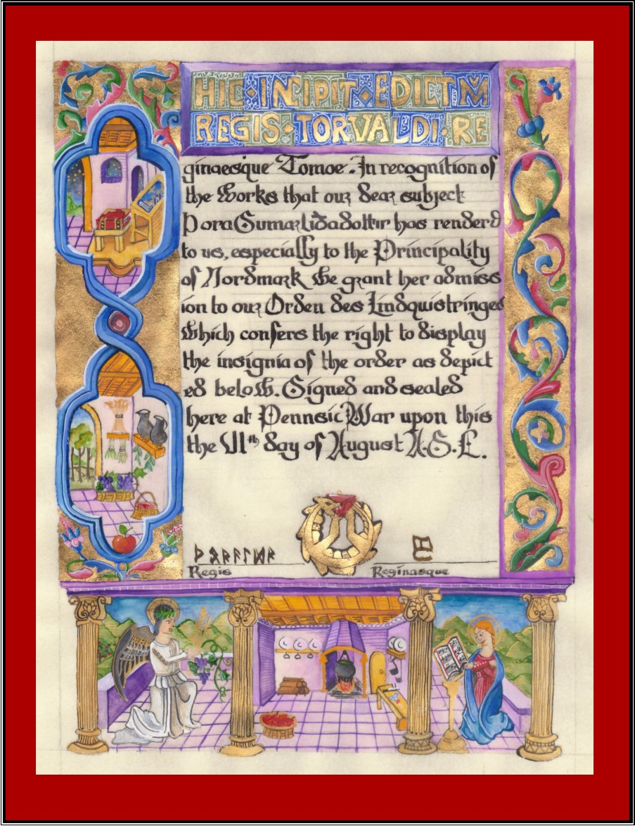 Orden des Lindquistringes calligraphy and illumination by Saraswati-man.ikkam