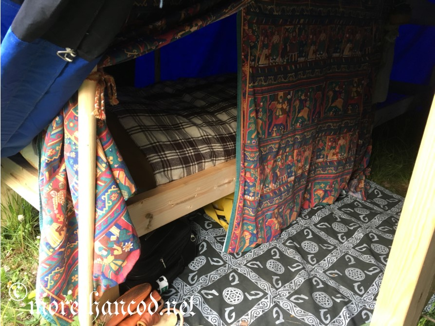 """View of """"Pimped Bedchamber"""" looking in from back side of tent"""