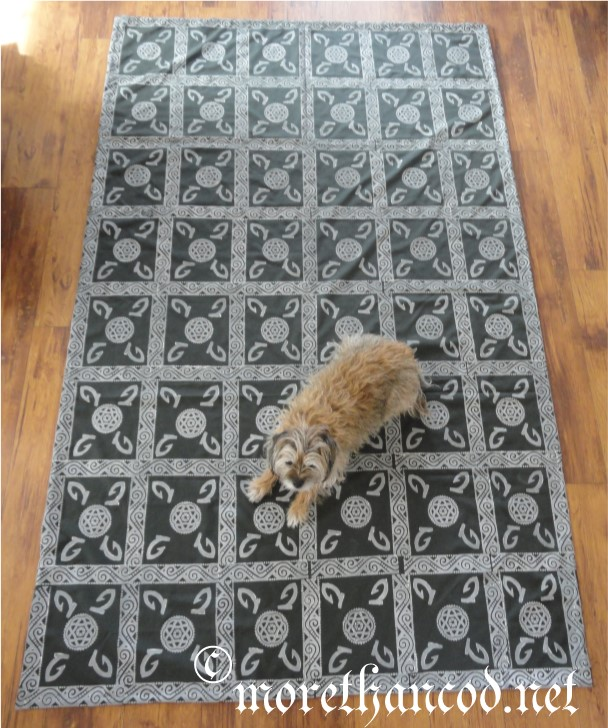 Full image of floor covering. FiberDog for scale.