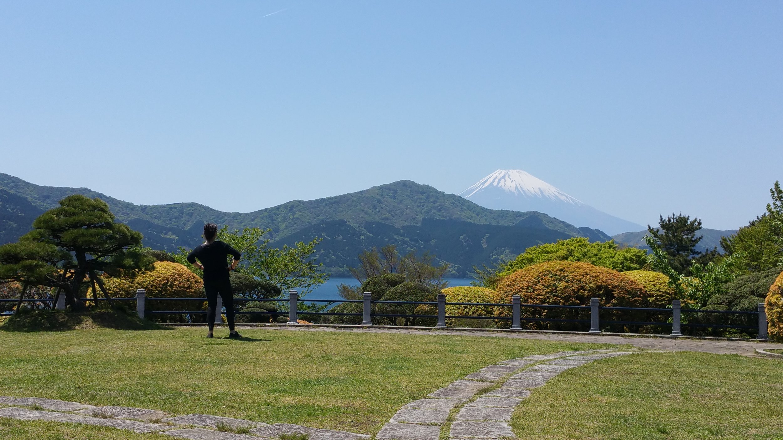 Viewing Mount Fuji from Hakone, May 2016, and vaguely fantasizing about climbing it;little did I think I would do so just three months later.