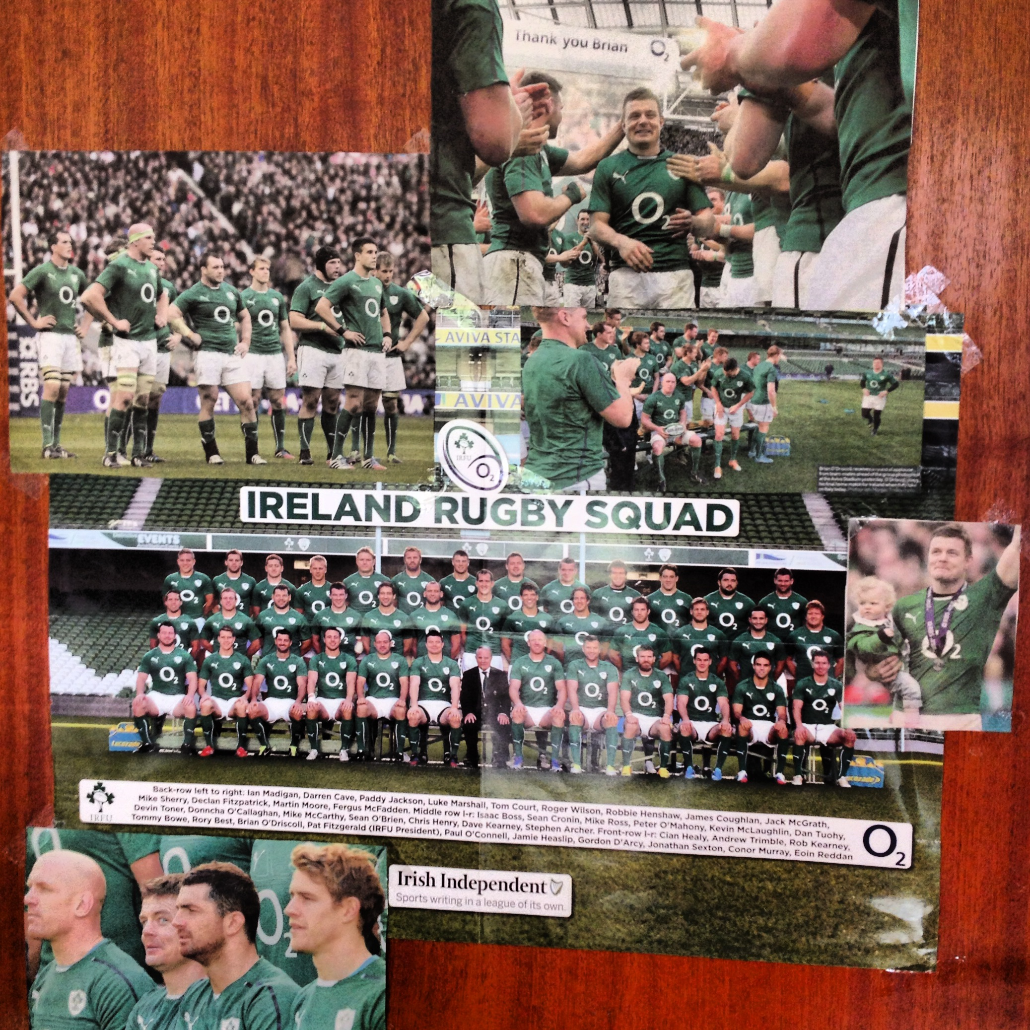 The veritable shrine to the rugby team, and let's face it, Brian O'Driscoll, which I amassed on the kitchen door, circa 2014.