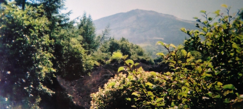 The peak far ahead, from the Subashiri trail.