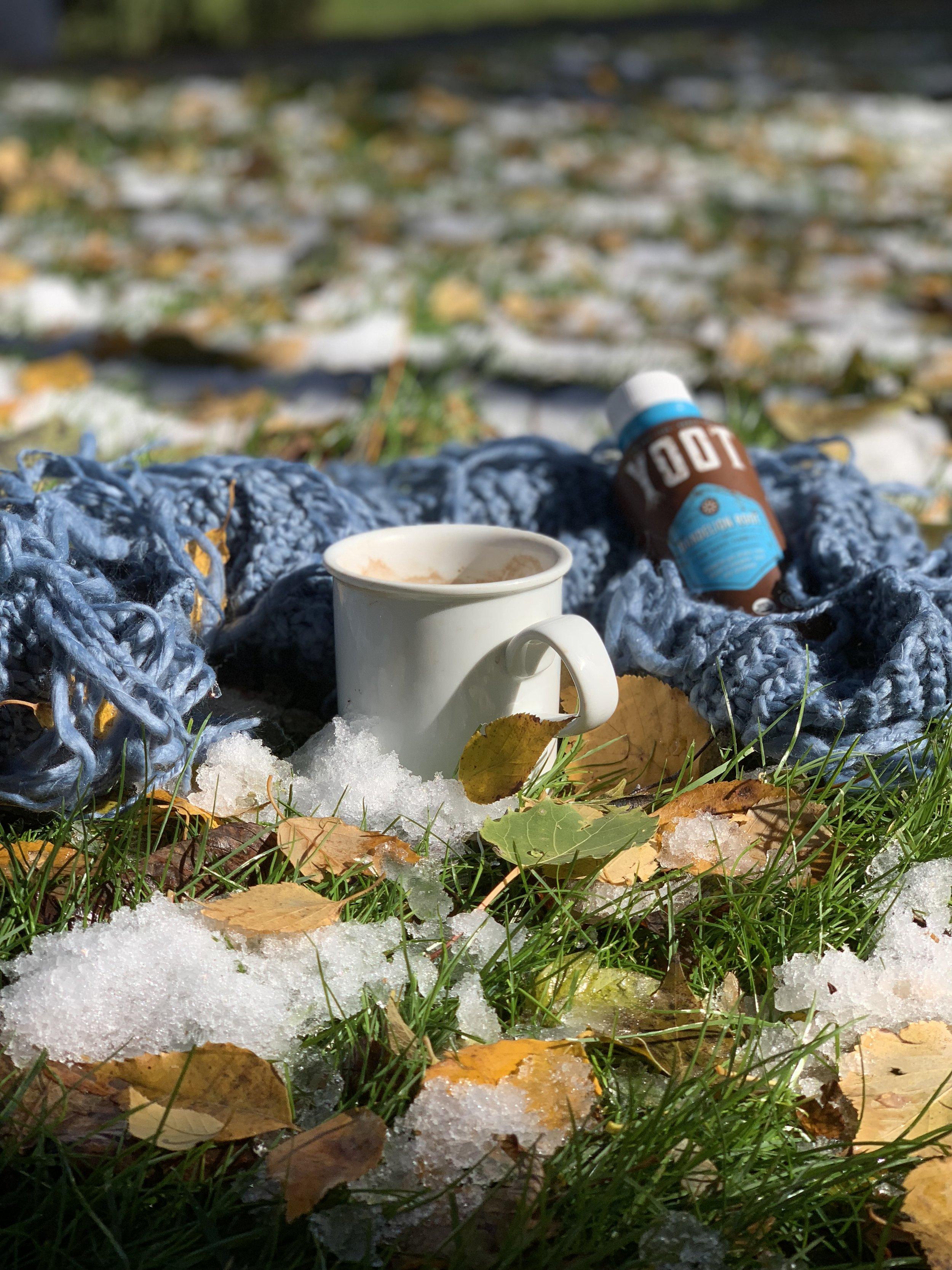 Warm YOOT Chai Dandelion Tea in the snow