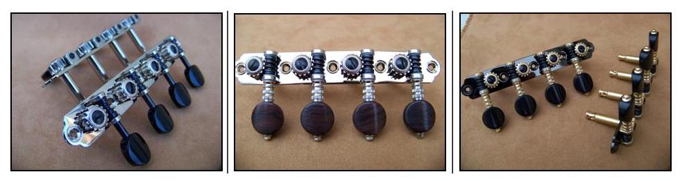 Rubner Mandolin Tuning Machines offer quality design features combined with maximum tuning efficiency. All components are precision machined for accuracy. The tradition of Thomas Rubner provides an outstanding value with reasonable pricing.