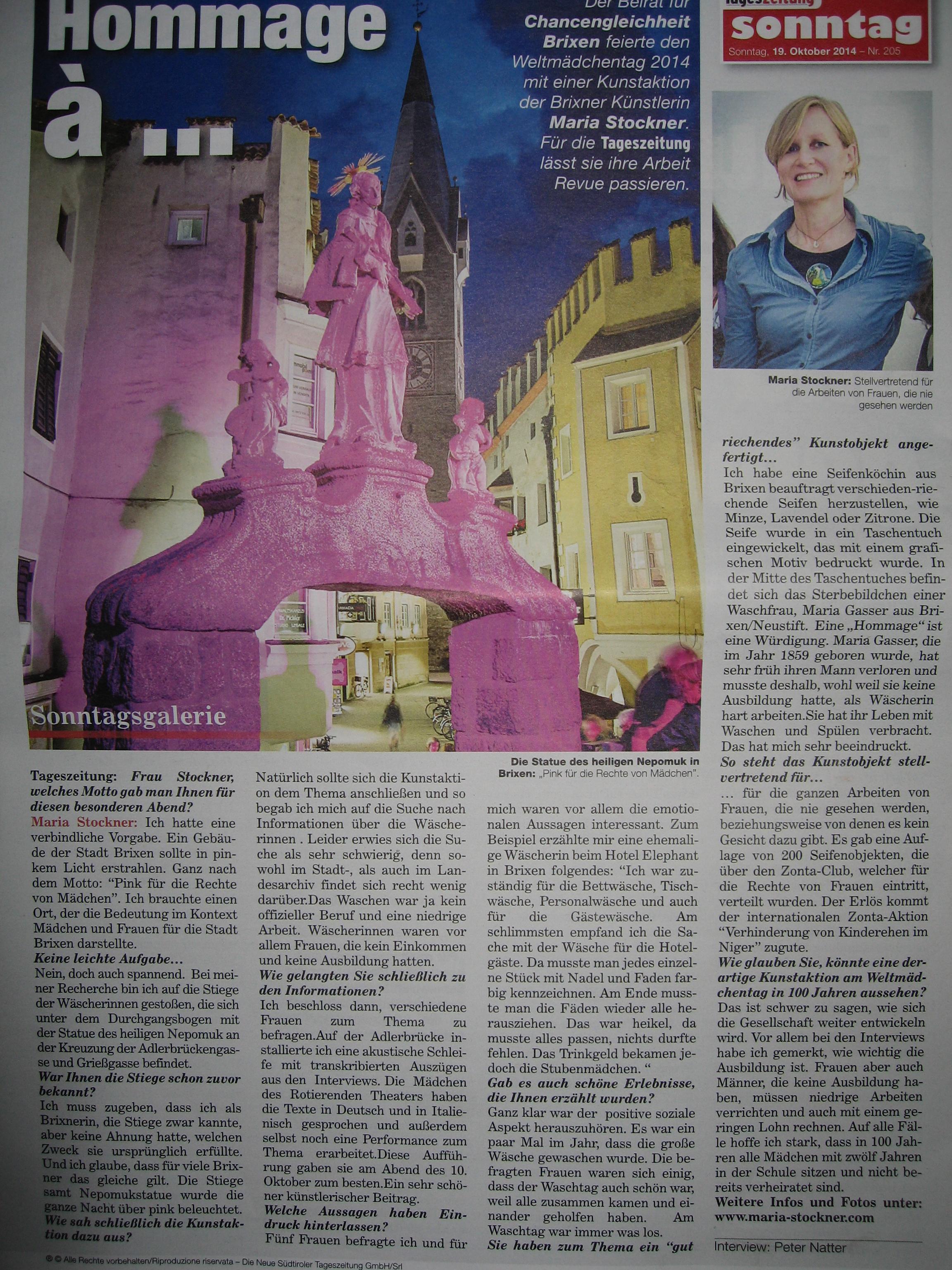 Artikel Neue Südt. Tageszeitung / 18.10.2014