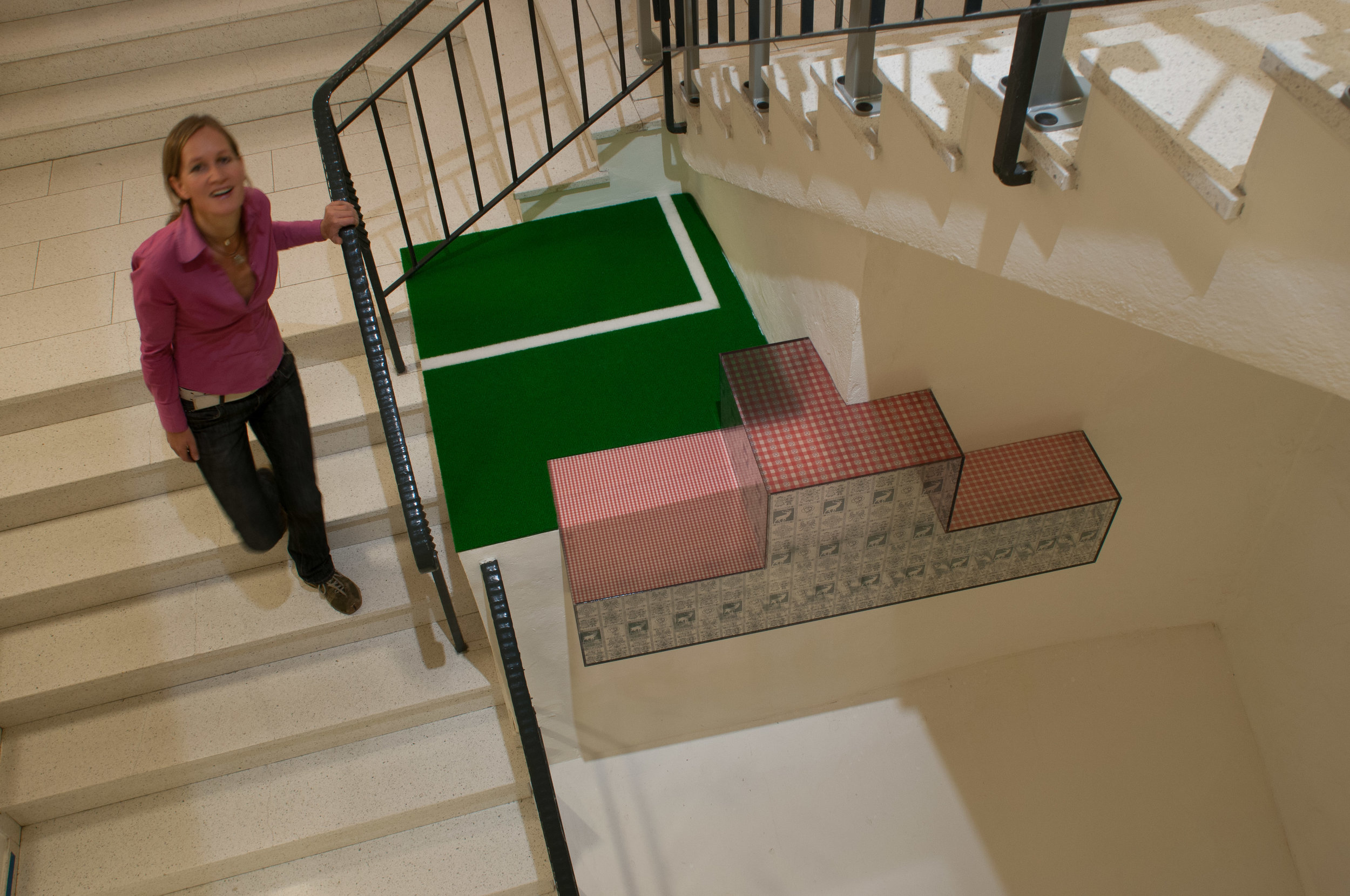 UNIVERSITY Sport&Tourism, Bruneck (I) 2005  starecase - Installation, printed plexiglascube, carpet