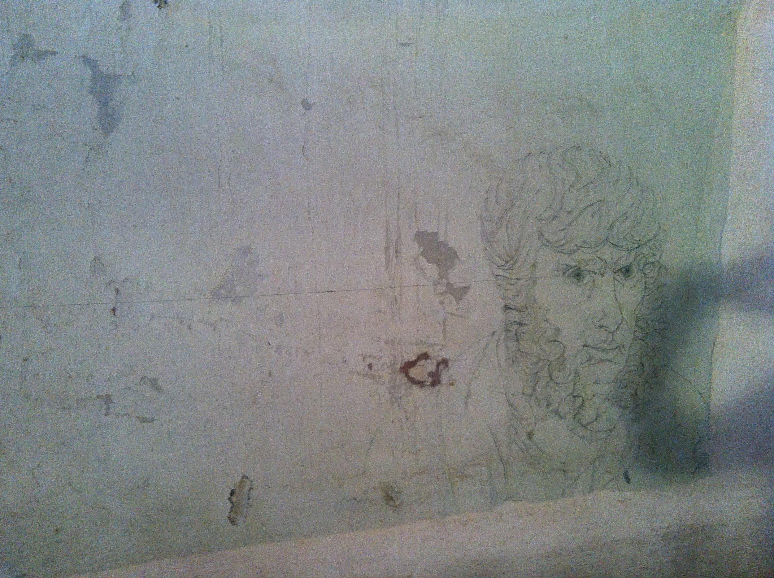 SCHLIEßE DEIN LEIBLICHES AUGE..., 1989  textile drawing on wall 370cmx210cm