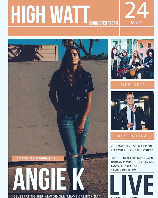 Excited for my friend @Angie keilhauer release show tomorrow night at The High Watt. I'll be warming up the night with an acoustic set.