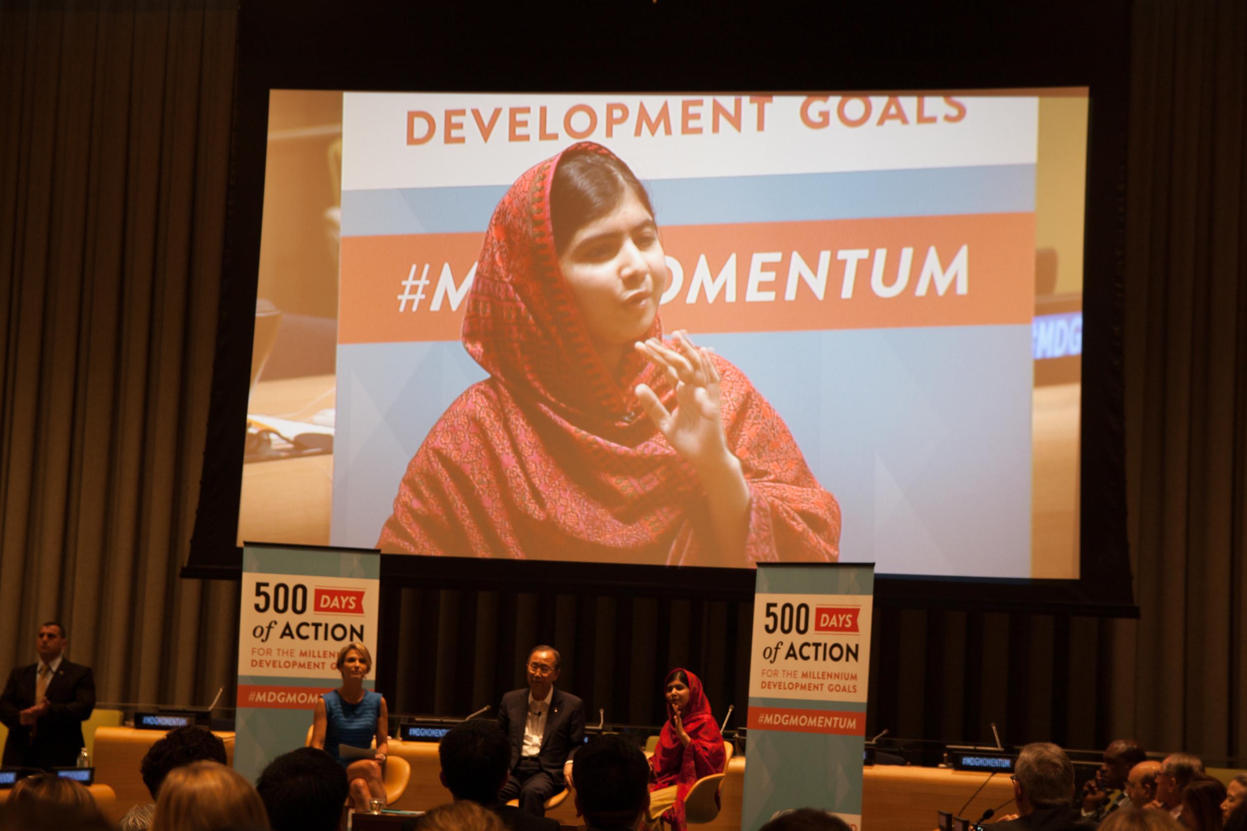 Malala Yousafzai w/ ABC News Anchor & Ban Ki-Moon