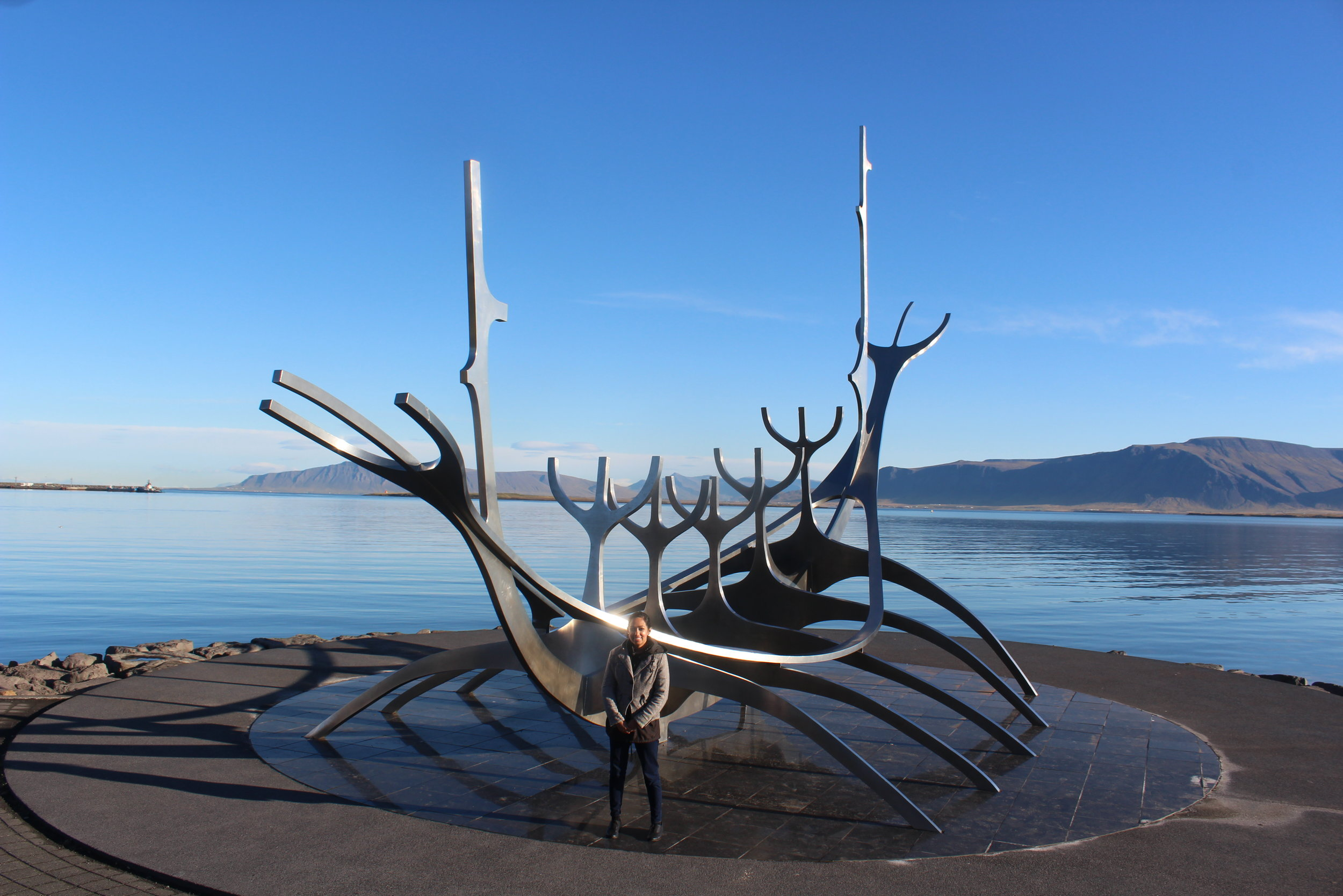 - Sun Voyager sculpture, made of stainless steel, and resting upon granite, overlooking the Atlantic. You don't need much time here. If you're headed to Harpa, this isn't too far away and the blue mountain range + horizon blends in well with the ocean, making this a scenic backdrop!