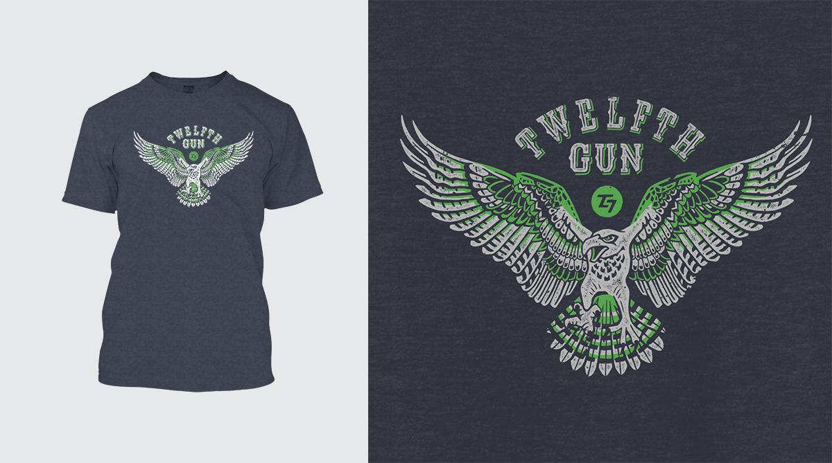Custom vintage interpretation of Ten Gun Design Seahawks pride