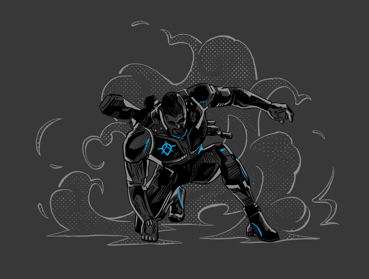 Custom illustration of primary Crackdown 3 hero character