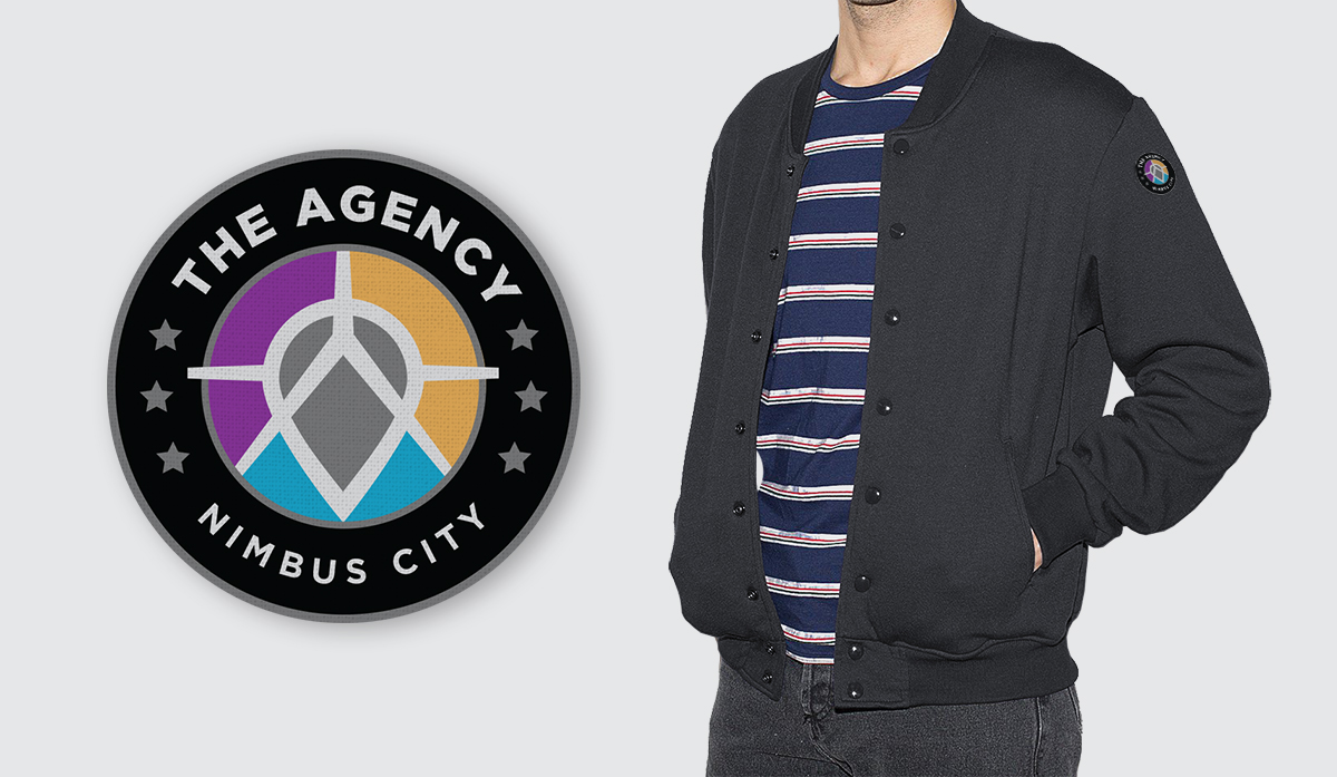 Stitched patch design; logo and city name version