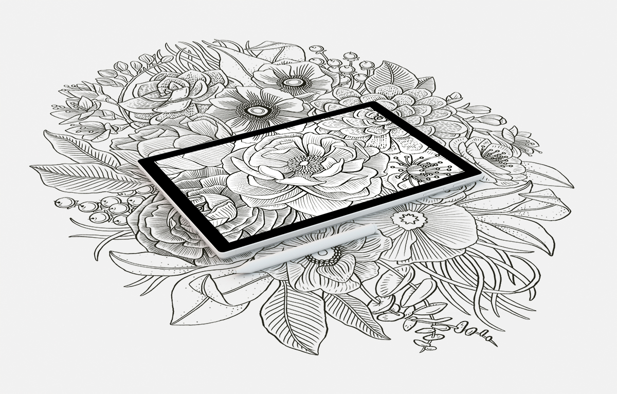 Floral illustration screen created for the Microsoft Surface Studio marketing campaign.