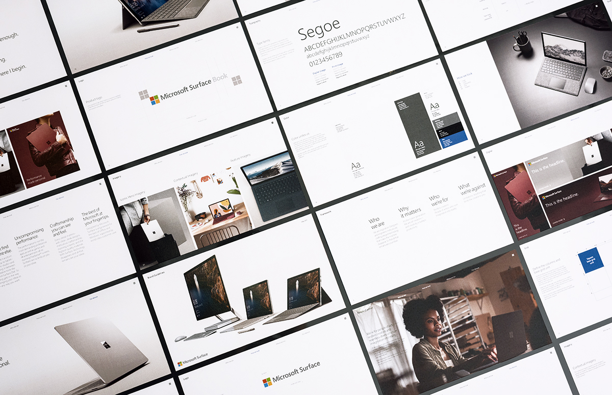 Sample pages from Surface Brand Guidelines
