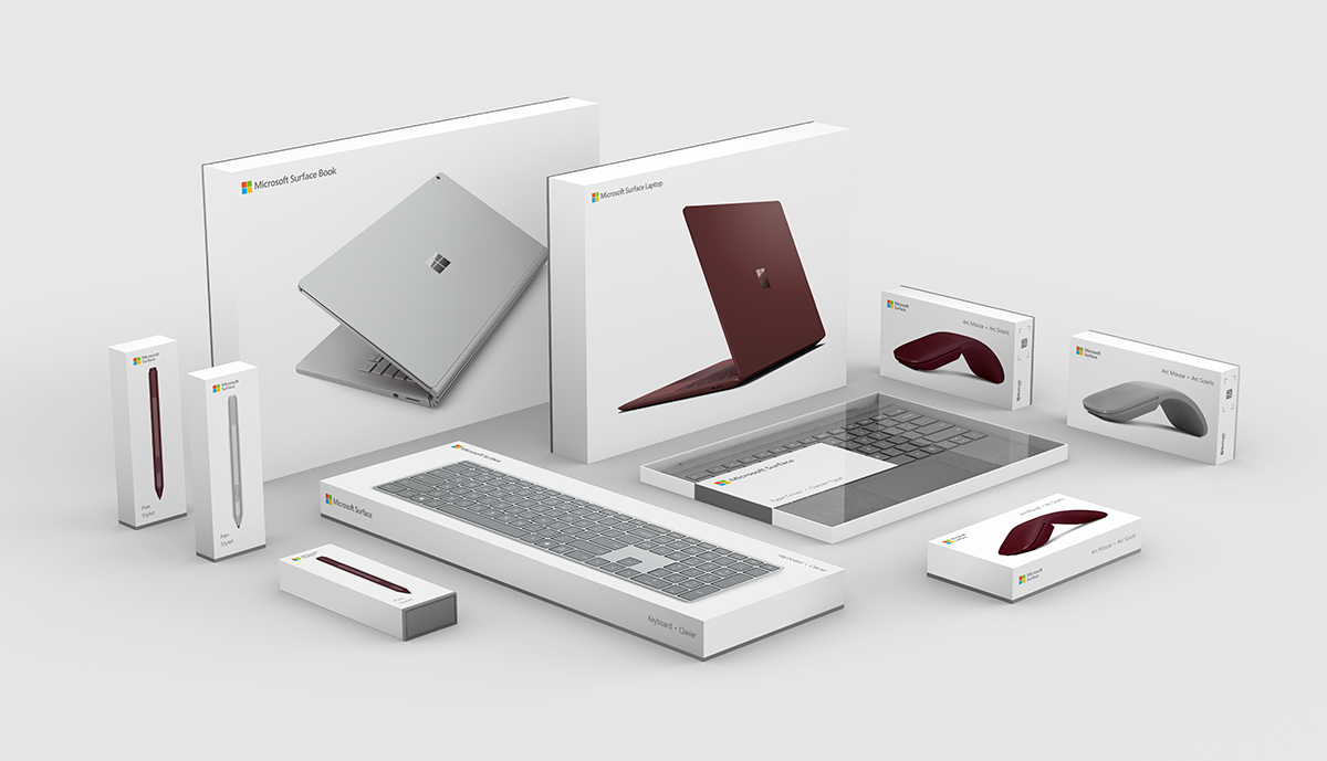 Microsoft Surface family packaging design system
