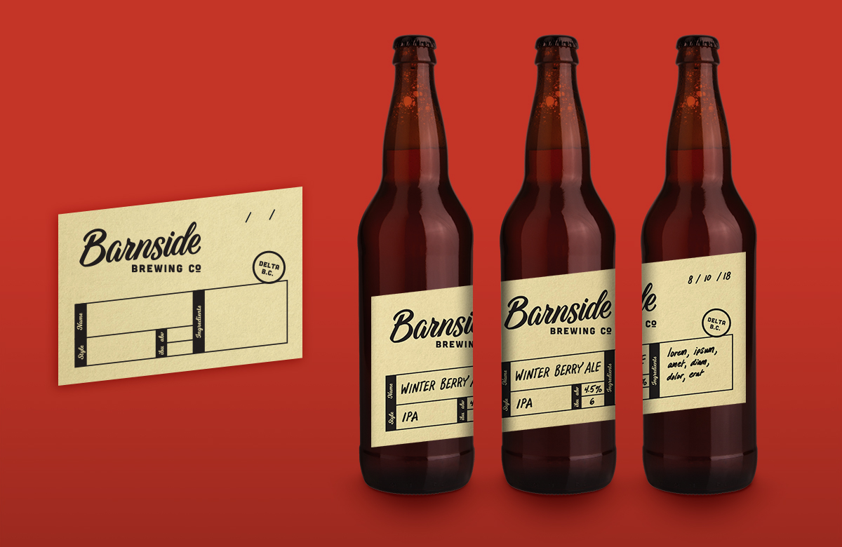 Temporary bottle label design intended for on-site small batch specification and tasting