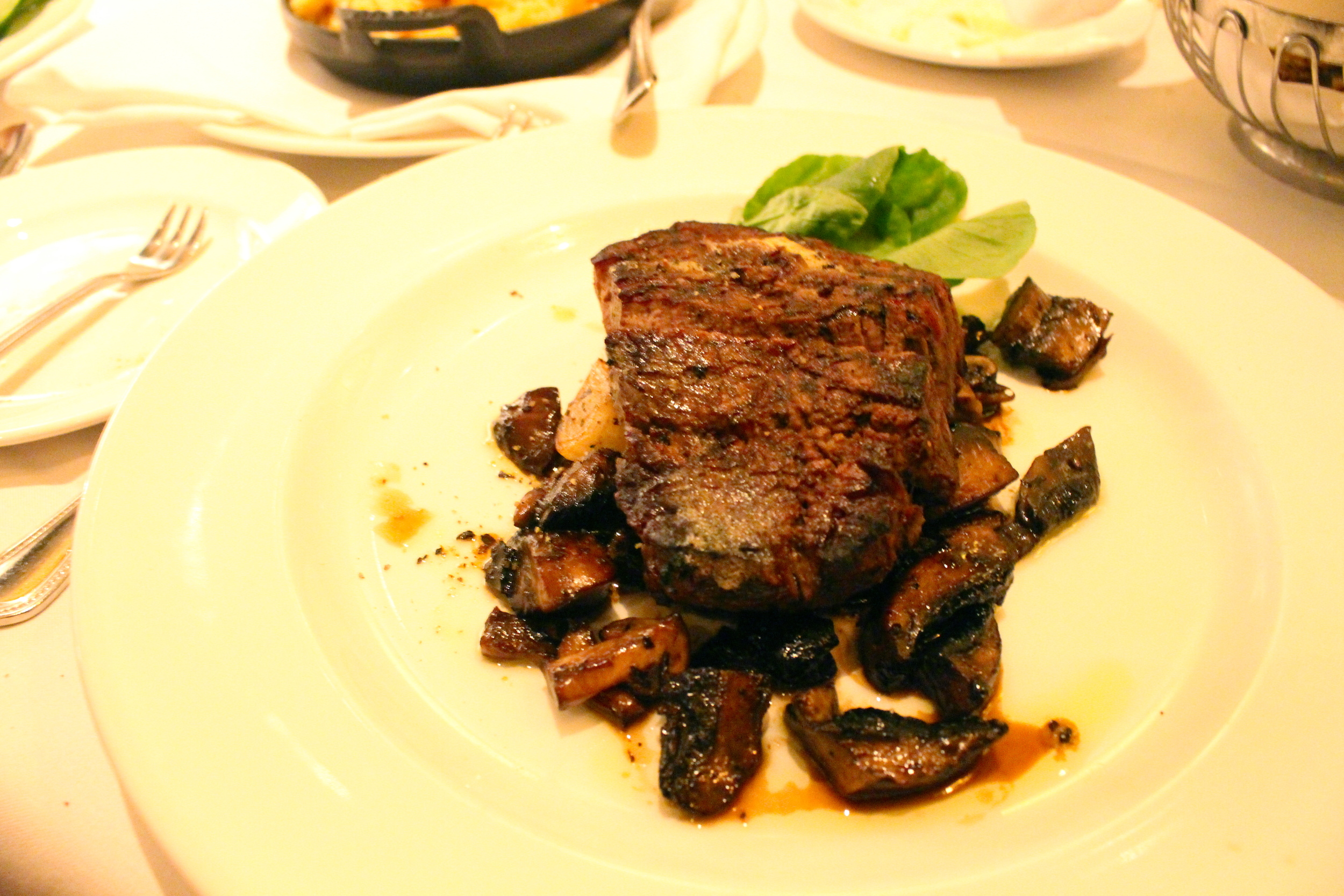 Sliced Filet Mignon with Cipollini Onions and Wild Mushrooms