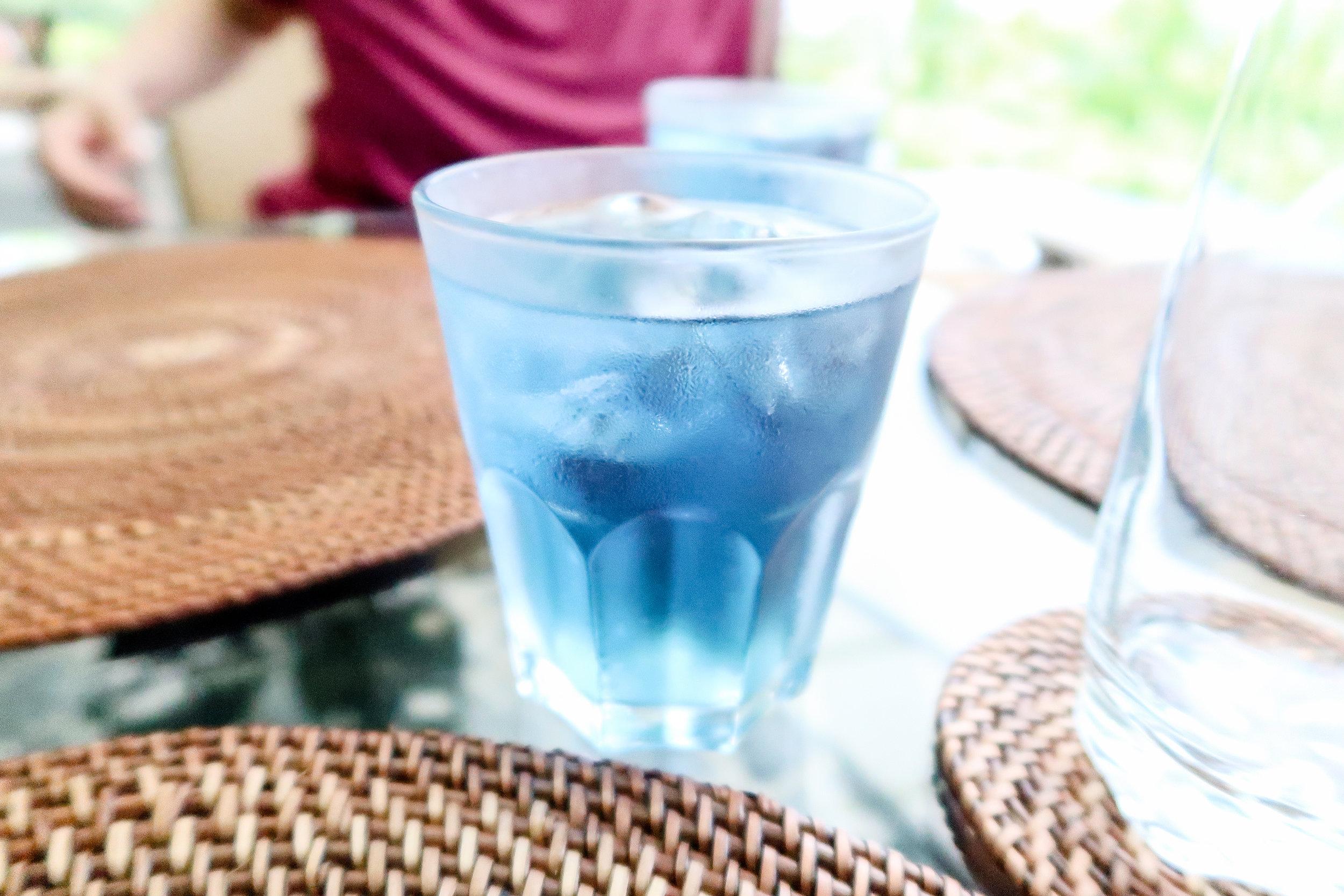 Blue flower iced tea