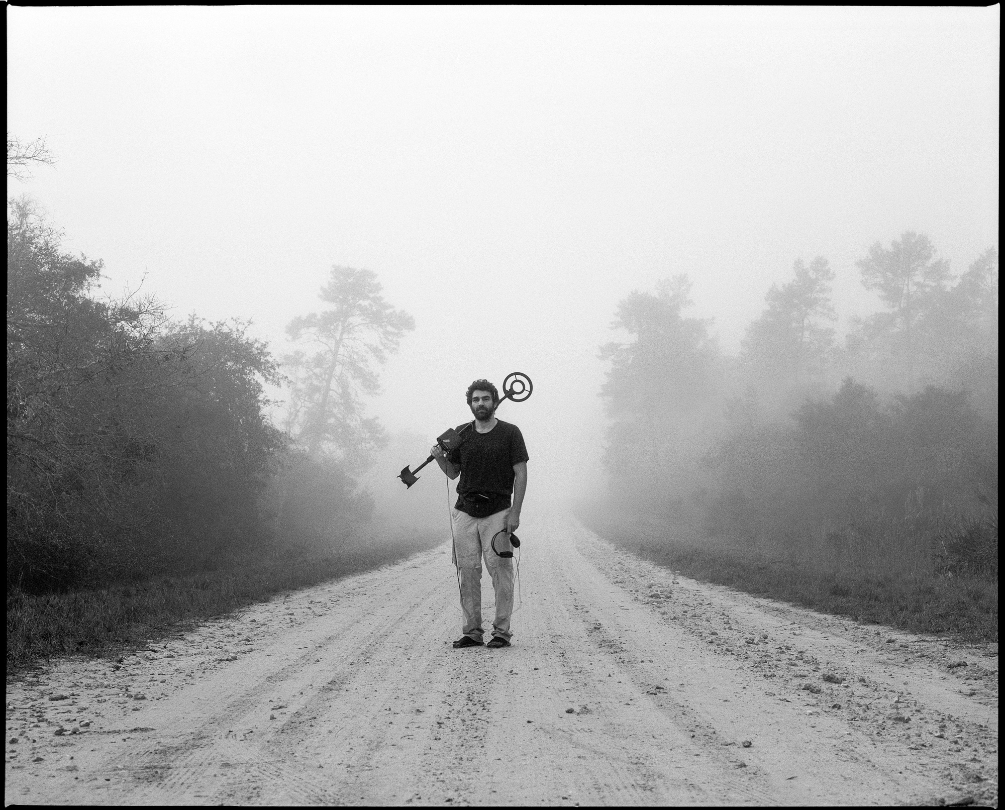 A portrait of Alex on Forest Road 33 right before entering the woods. Alex brought his metal detector to locate artifacts during our route. Aluminum foil seemed to be the life of the party this time around. Shot with the Mamiya RZ67 Pro II and 110mm, f/2.8.