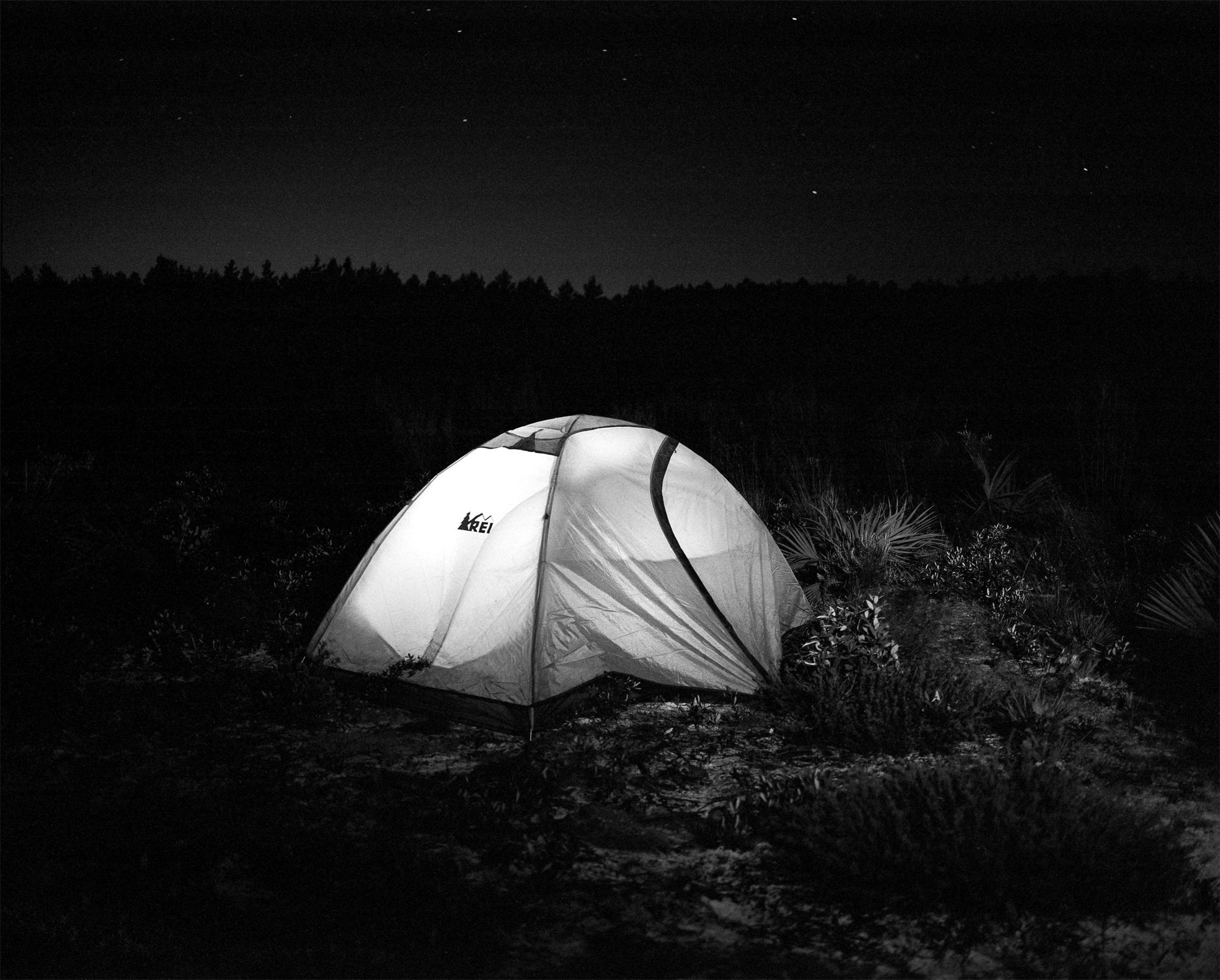 My tent beneath the stars in the Juniper Prairie Wilderness. Shot details: Mamiya 7ii, 80mm f/4, Kodak Tri-X 400 pushed to 1600, Nikon SB910 fired remotely