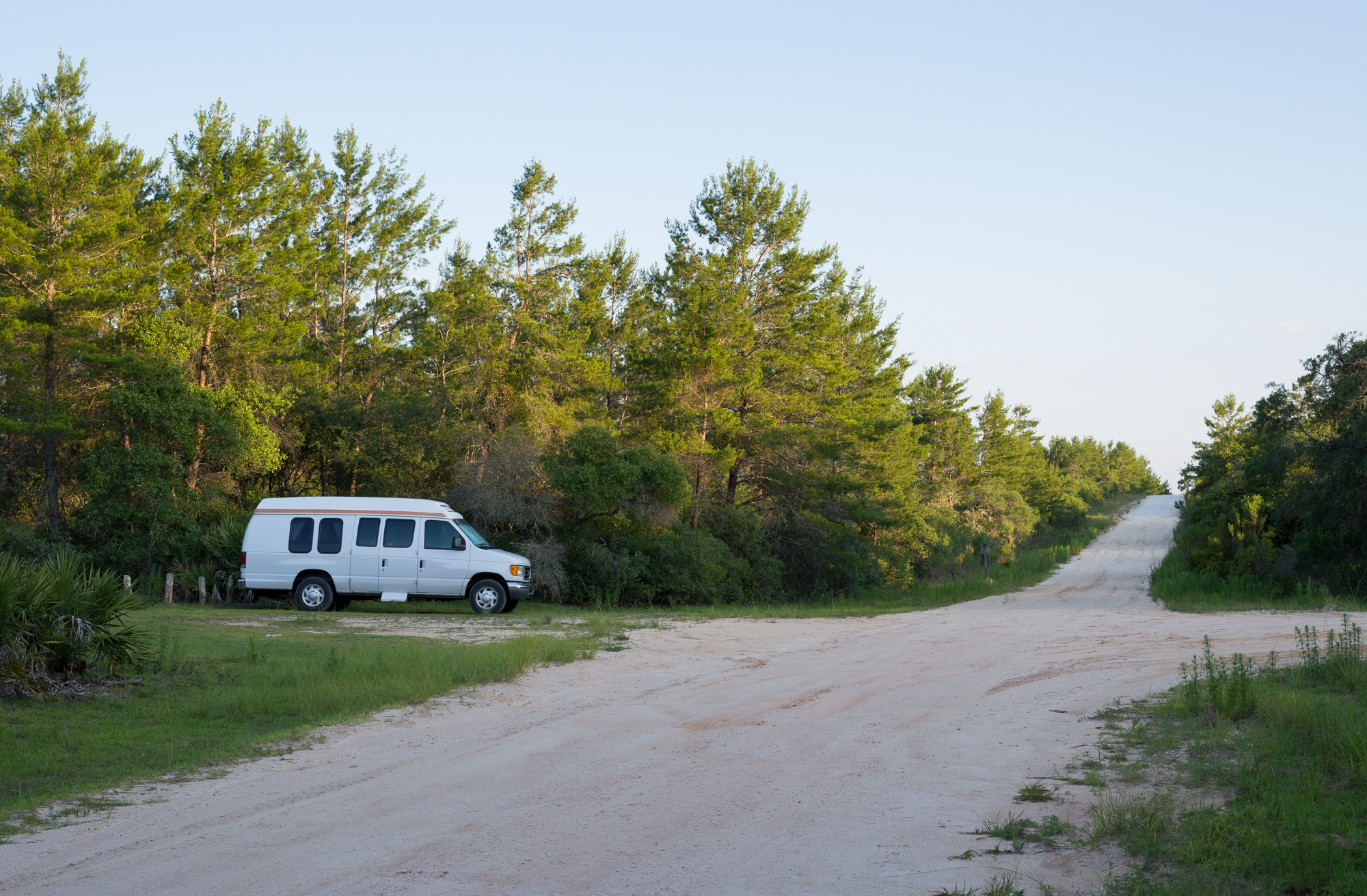 Howl parked at the Fire Trail on Forest Road 33 after arriving at the Juniper Prairie Wilderness Friday evening