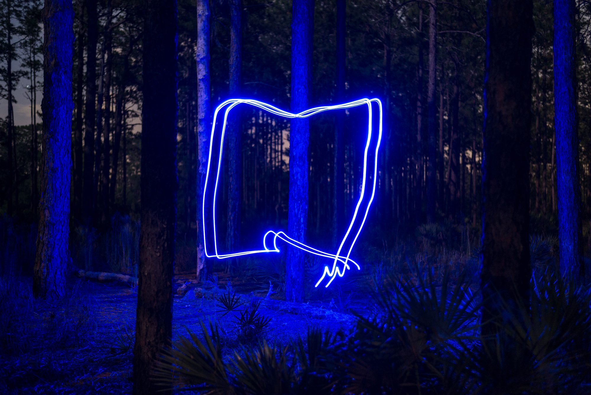 This is the image we created in camera by attaching blue LEDs to a drone.