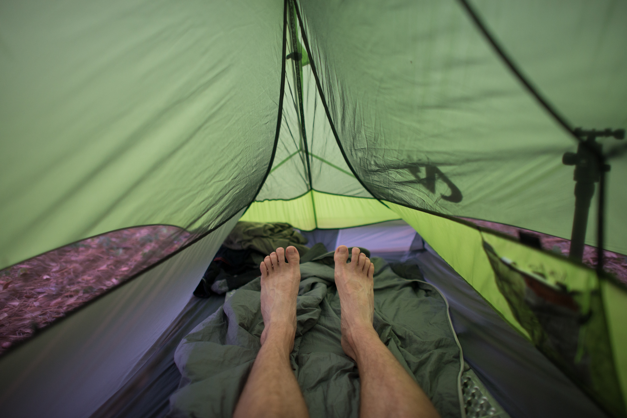 A picture of my feet after waking up to the sound of thunder. I've really been enjoying the comfort of my Nemo Hornet single person tent.