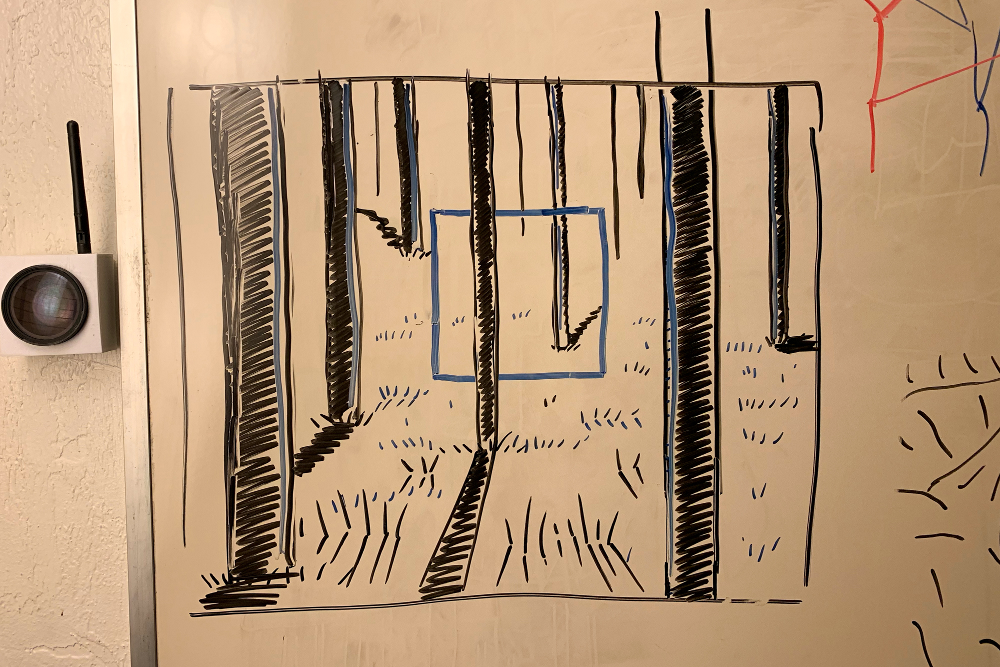 A rough draft I sketched on Alex's whiteboard during our Thursday meeting illustrates the goal: a single blue square emanating from the middle of a dense pine forest.