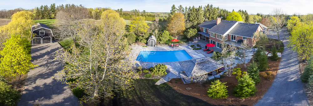 Elevated panoramic real estate photo of a Georgetown, Ontario listing.