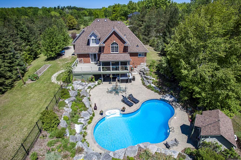 Sample aerial real estate photo taken in the Southern Ontario countryside.