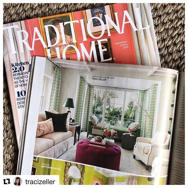 Check us out in this month's @traditionalhome !  Thank you to @tracizeller for featuring our textiles in your picture perfect room 😍👌. . . #handprintedtextiles #textiles #interiordesign #interiors #blockandbrayer #textileart #charlestonsc #charlestondesign #southernstylenow