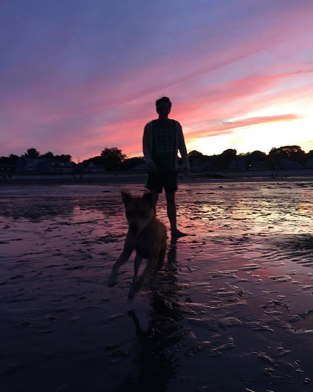 Husband and dog. #humanrightscampaign #marriageequality #adoptdontshop #willardbeach #maine #portlandmaine #loveislove #nofilter #sunset #labordayweekend