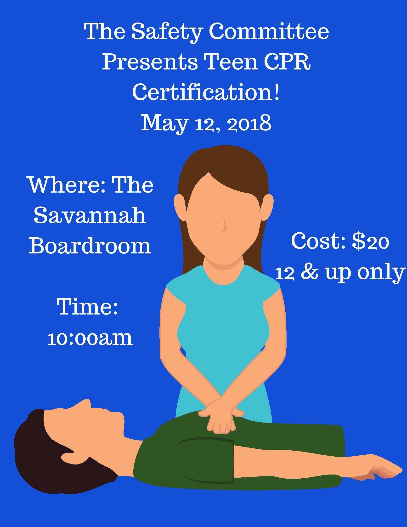 Please sign up to receive your CPR Certification by clicking the button below. The cost is $20 per person, and must be received in the clubhouse no later than Thursday, May 10, 2018.