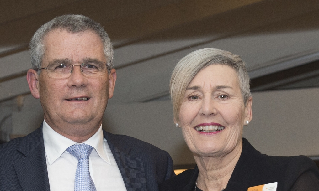 Harwood Andrews Managing Principal Dan Simmonds & newly appointed Chair Janet Dore (photo courtesy Committee for Geelong)