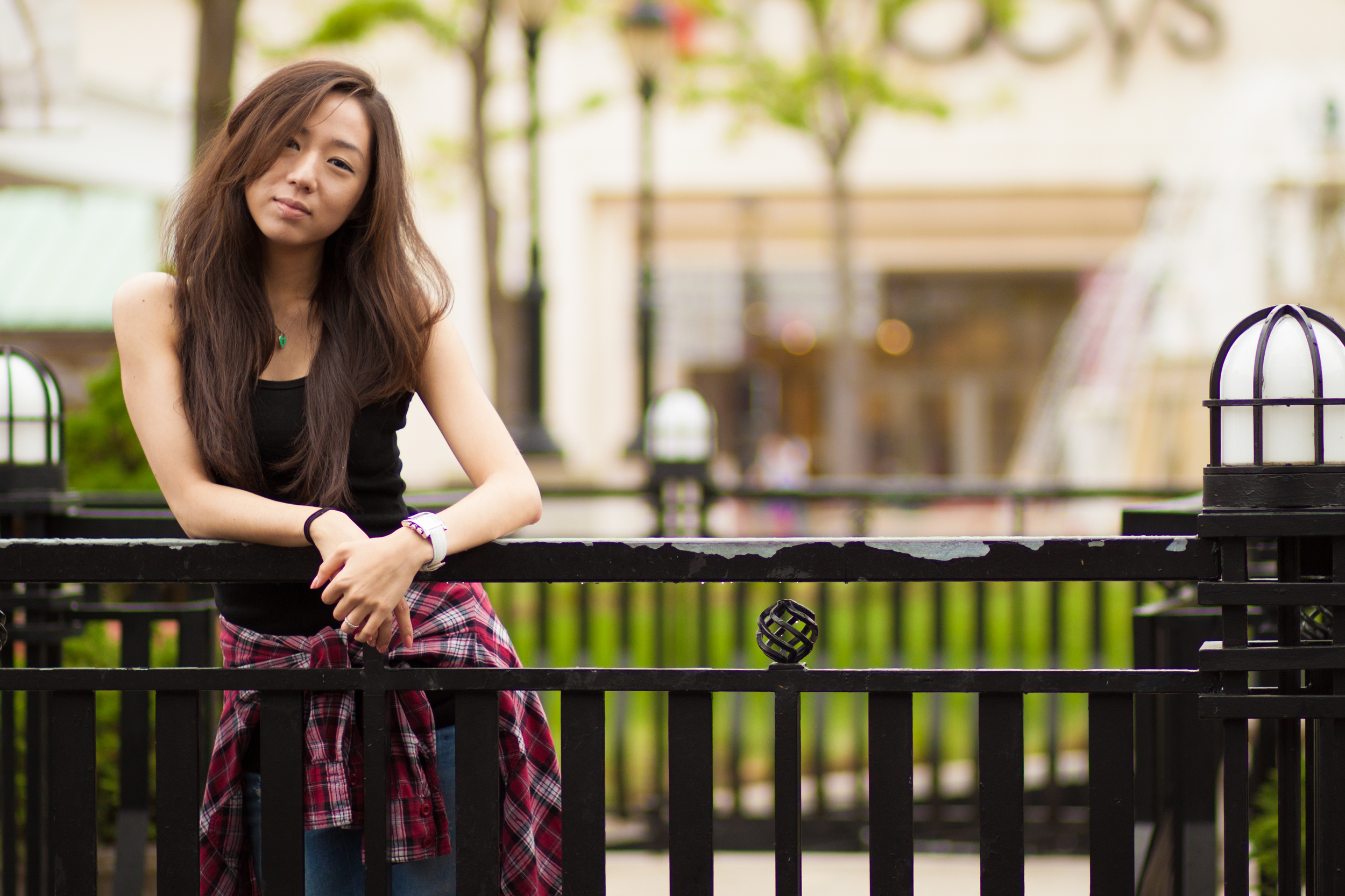 Tank Top from Korea, Zara Pants and Heels, Forever 21 Plaid Button-Up