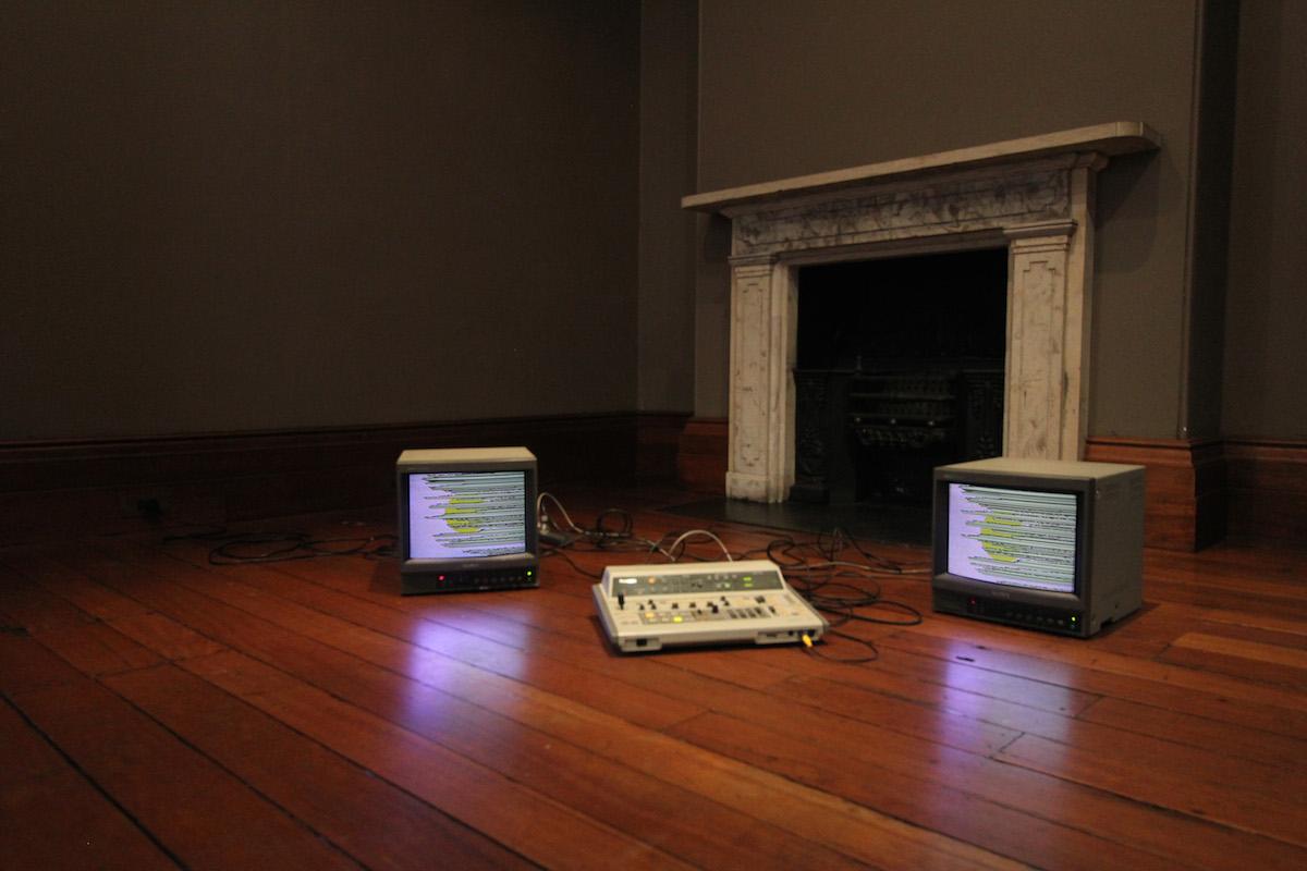 Pia van Gelder  Apparition Apparatus , 2012 No-input set-up: Panasonic WJ MX-12 Video Mixer, Sony Trinitron CRT monitor, powered speaker Courtesy of the artist   Acid/Gothic , Elizabeth Bay House installation view
