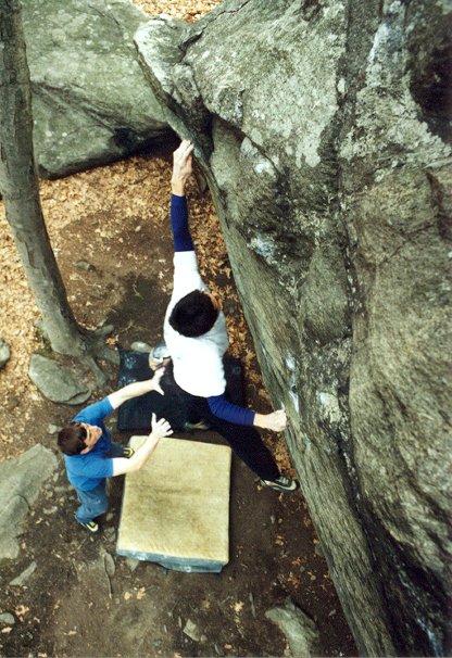 Try Again, V5, at Lincoln Woods, RI. Photograph by Joe McLoughlin.