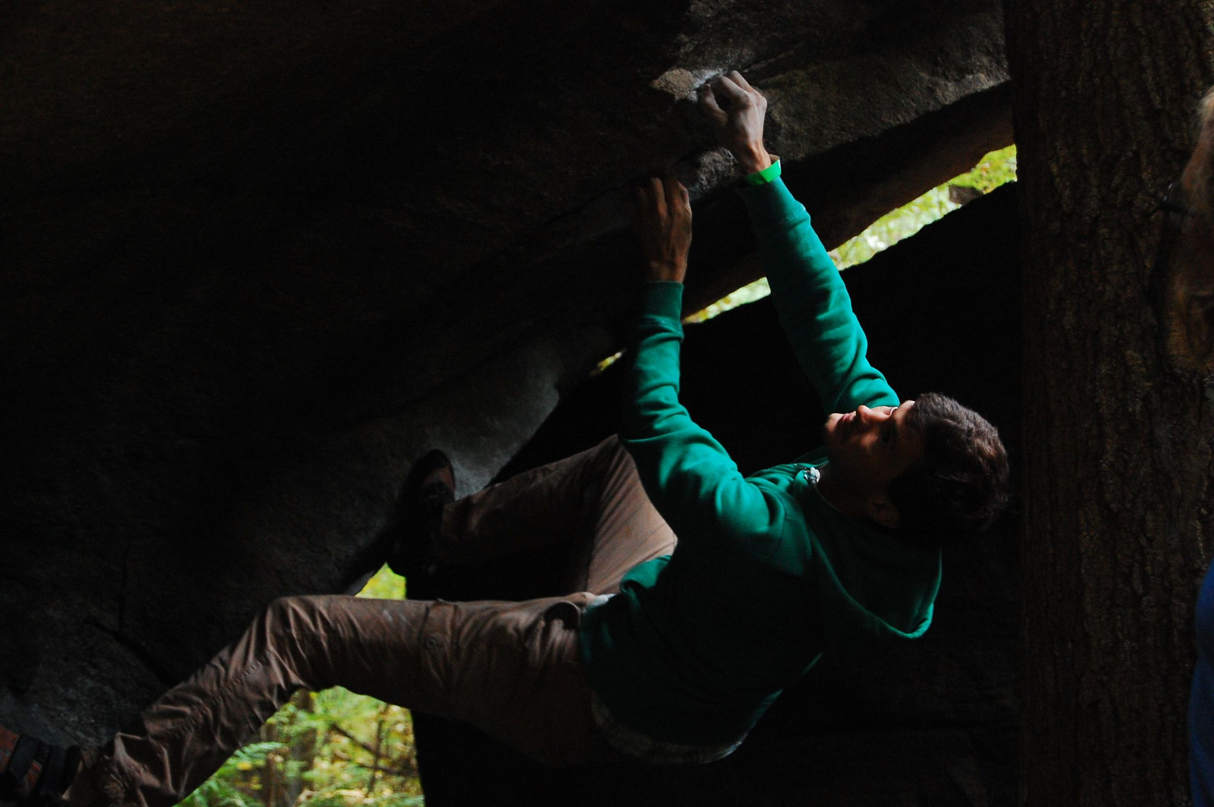Jerome Boutaid on Tweaky Bird during the bouldering comp.