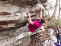 John Kuphal on the FA of Extra Bacon, photo from  climbingnarc.com
