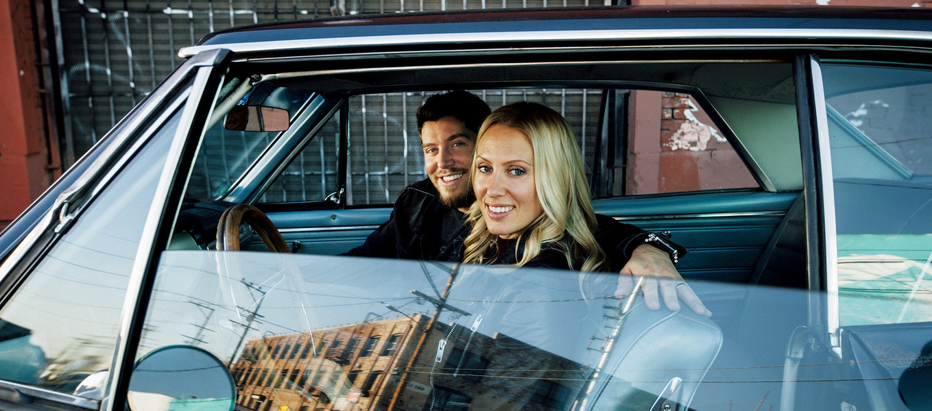 Jason Wilbur and Michelle Christensen in Downtown L.A. in Christensen's 1965 Malibu Chevelle.