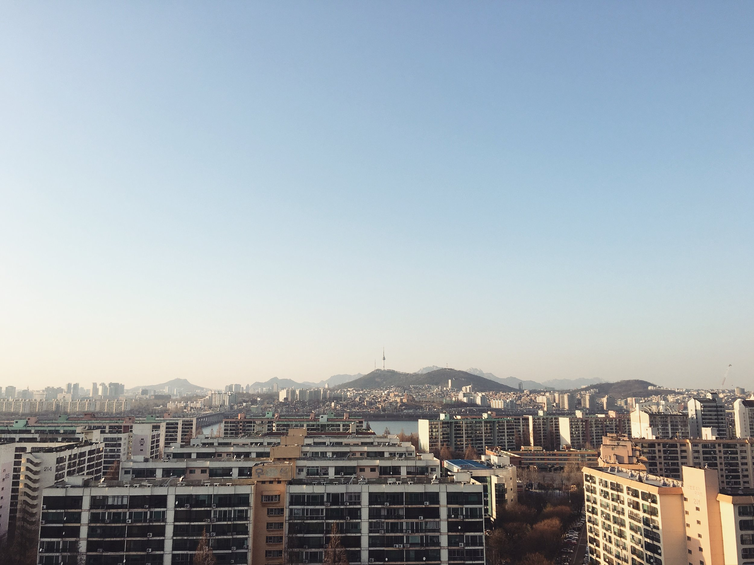 Enjoying Seoul's view after a long yet fulfilling day of interviews & traveling