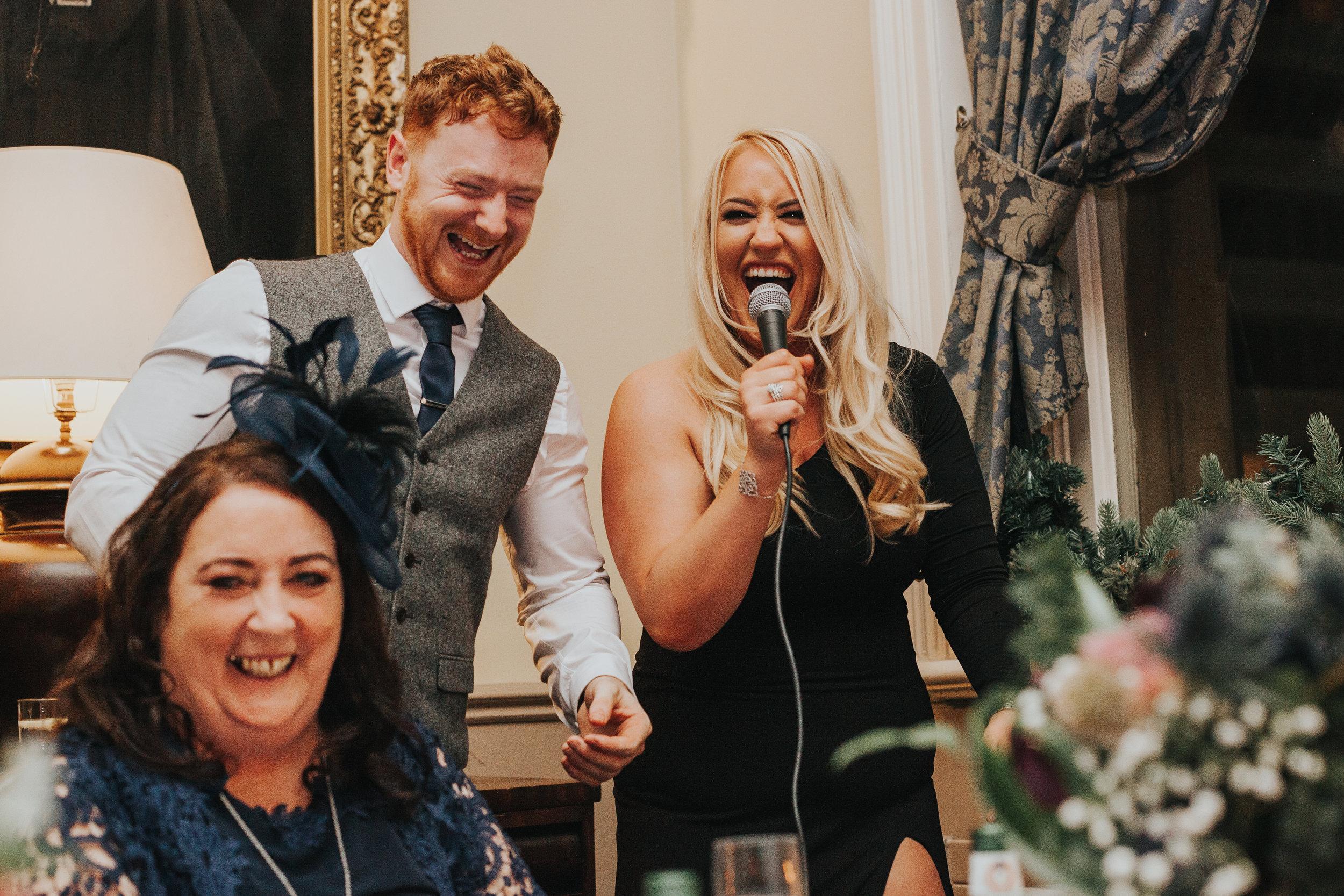 Best Man and Best Women singing