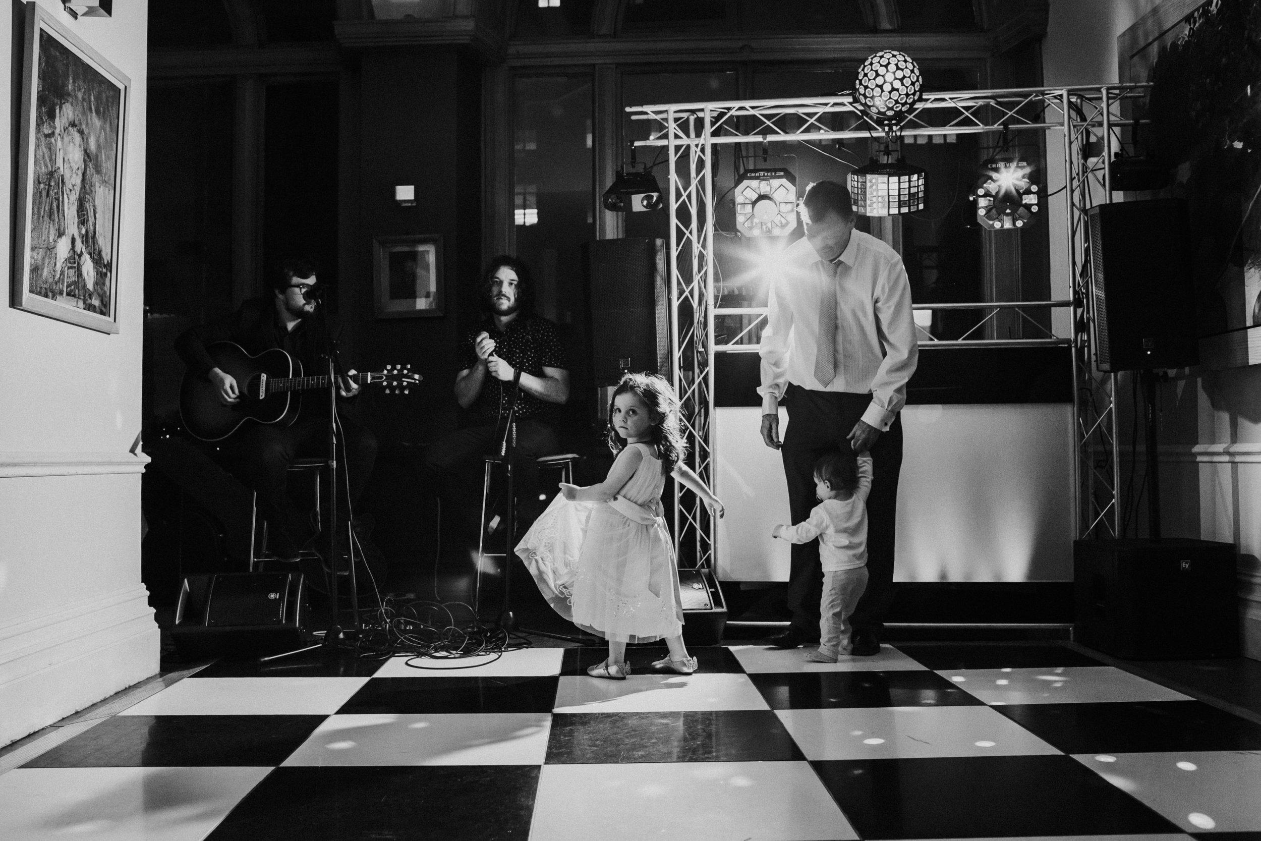 Little girl dancing on dance floor