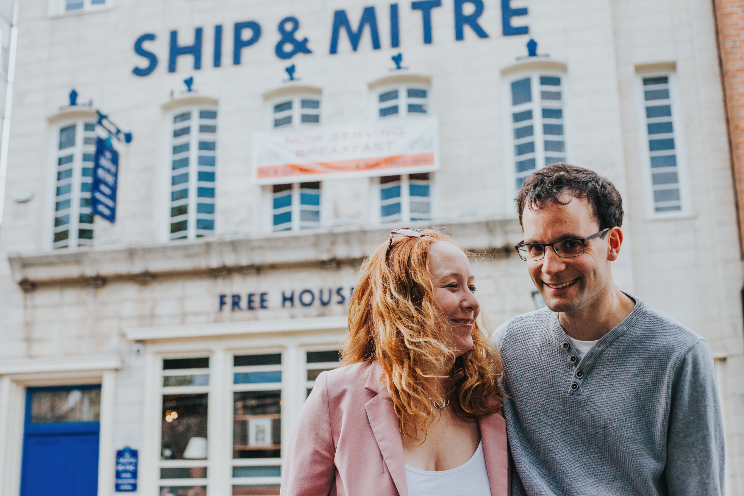 Couple infront of Ship and Mitre Liverpool