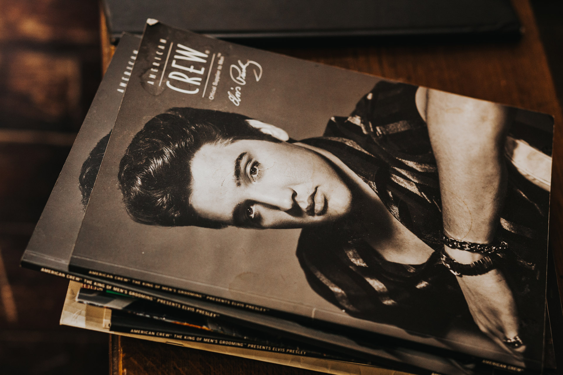 Magazine with a black and white photograph of Elvis on the cover