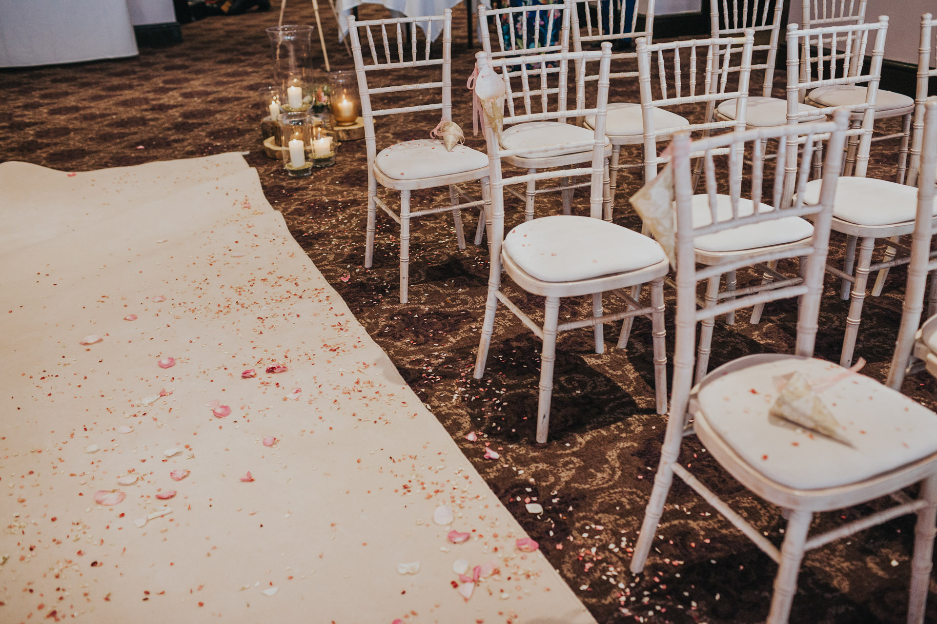 Wedding chairs and confetti.