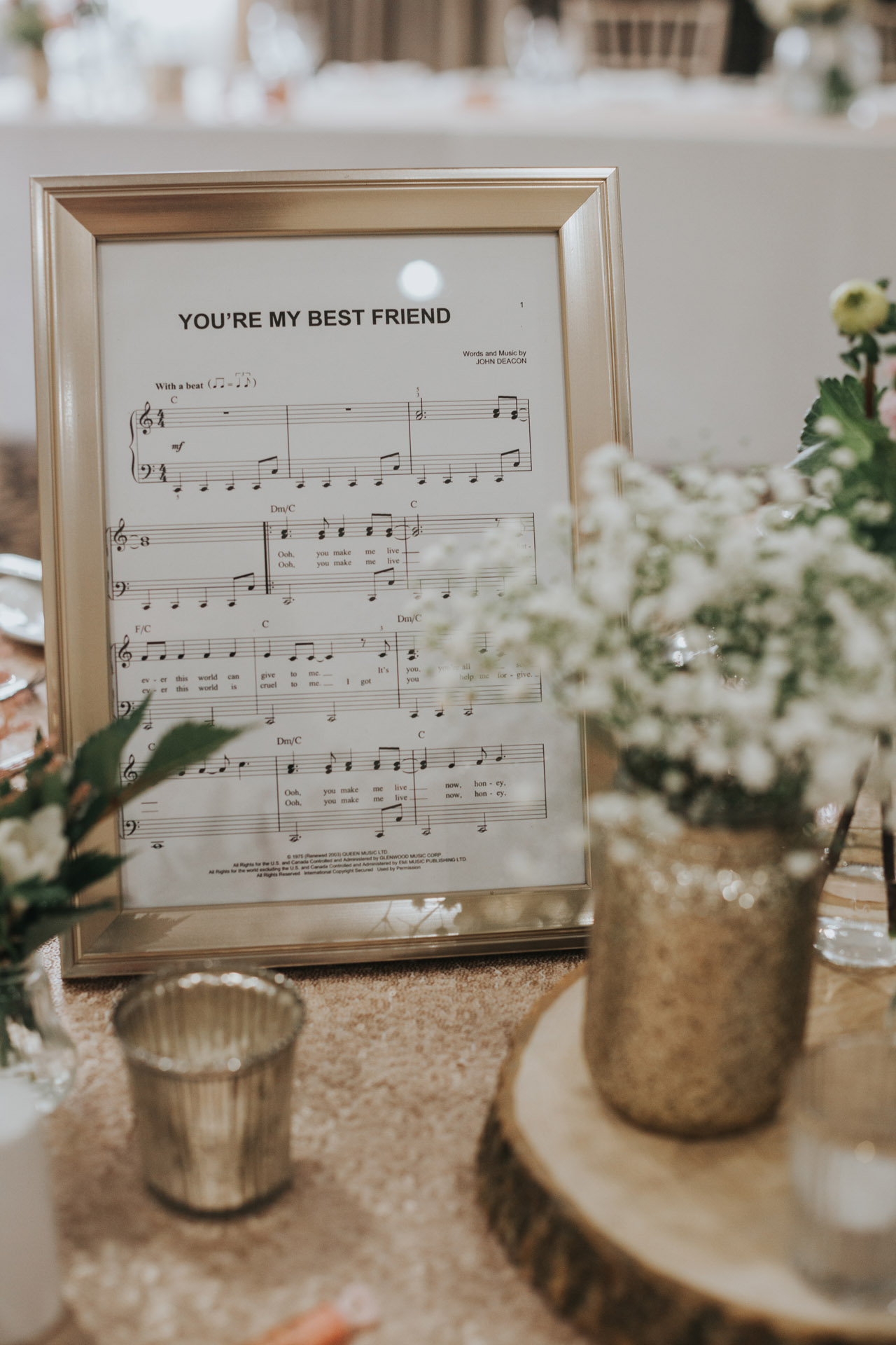You are my best friend, sheet music, table decor.